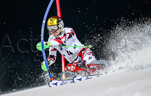 26.01.2016. Schladming, Ausria. FIS Mens Downhill slalom, Schladming World Cup.  Marcel Hirscher of Austria competes during his 1st run of men s Slalom Race of Schladming FIS Ski Alpine World Cup at the Planai in Schladming, Austria on 2016/01/26