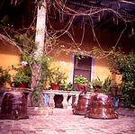 A294JF Ceramic jars garden courtyard Mexico