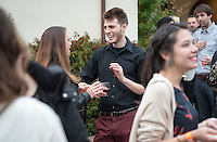 Graduating Occidental College seniors (class of 2015) have fun at the Samuelson Alumni Center during Senior Cocktail Hour, May 8, 2015.<br /> (Photo by Marc Campos, Occidental College Photographer)