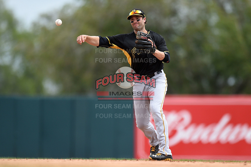 Second baseman Neil Walker (18) of the Pittsburgh Pirates during a spring training game against the Baltimore Orioles on March 23, 2014 at McKechnie Field in Bradenton, Florida.  Baltimore and Pittsburgh played to a 7-7 tie.  (Mike Janes/Four Seam Images)