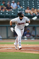 Gavin Sheets (24) of the Birmingham Barons hustles down the first base line against the Pensacola Blue Wahoos at Regions Field on July 7, 2019 in Birmingham, Alabama. The Barons defeated the Blue Wahoos 6-5 in 10 innings. (Brian Westerholt/Four Seam Images)