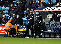 9th February 2020; The Den, London, England; English Championship Football, Millwall versus West Bromwich Albion; Millwall Manager  Gary Rowett talking to his coaching staff
