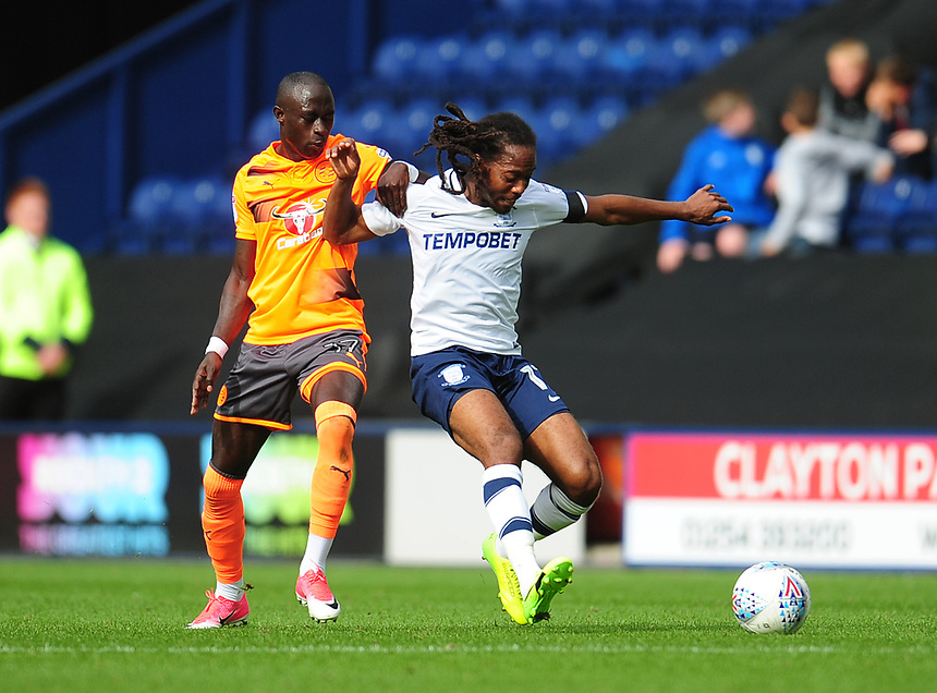 Preston North End's Daniel Johnson under pressure from Reading's Modou Barrow<br /> <br /> Photographer Kevin Barnes/CameraSport<br /> <br /> The EFL Sky Bet Championship - Preston North End v Reading - Saturday 19th August 2017 - Deepdale Stadium - Preston<br /> <br /> World Copyright &copy; 2017 CameraSport. All rights reserved. 43 Linden Ave. Countesthorpe. Leicester. England. LE8 5PG - Tel: +44 (0) 116 277 4147 - admin@camerasport.com - www.camerasport.com