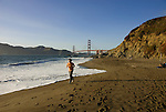 San Francisco: Baker Beach with Golden Gate Bridge in background.  Photo # 2-casanf83496.  Photo copyright Lee Foster