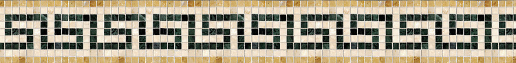 "5"" Saluzzo border, a hand-cut stone mosaic, shown in polished Verde Alpi, Travertine White, and Giallo Reale."