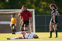 Washington Spirit forward Colleen Williams (2) lays injured on the field early in the game. Sky Blue FC defeated the Washington Spirit 1-0 during a National Women's Soccer League (NWSL) match at Yurcak Field in Piscataway, NJ, on July 6, 2013.
