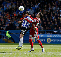Sheffield Wednesday v Cardiff .Sky Bet Championship ....... Weds Fernando Forestieri with cardiffs scott malone