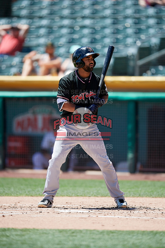 Rafael Ynoa (5) of the Albuquerque Isotopes bats against the Salt Lake Bees in Pacific Coast League action at Smith's Ballpark on June 11, 2017 in Salt Lake City, Utah. The Bees defeated the Isotopes 6-5. (Stephen Smith/Four Seam Images)