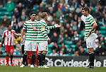 Kris Commons holds an investigation with Charlie Mulgrew and Keram Kayal after losing a goal