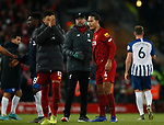 Jurgen Klopp manager of Liverpool hugs two goal hero Virgil van Dijk of Liverpool during the Premier League match at Anfield, Liverpool. Picture date: 30th November 2019. Picture credit should read: Simon Bellis/Sportimage