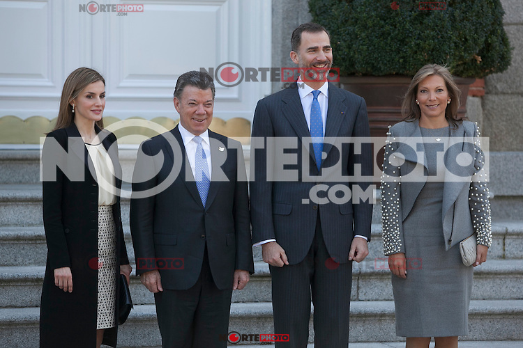 Spanish Royals King Felipe VI of Spain and Queen Letizia of Spain during the Colombia´s President Juan Manuel Santos and his wife Maria Clemencia Rodriguez welcome ceremony at Zarzuela Palace in Madrid, Spain. March 01, 2015. (ALTERPHOTOS/Victor Blanco) /NORTEphoto.com