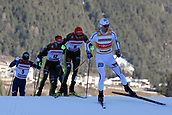 12th January 2018, Val di Fiemme, Fiemme Valley, Italy; FIS Nordic Combined World Cup, Mens Gundersen; Jan Schmid (NOR), Johannes Rydzek (GER), Fabian Riessle (GER)