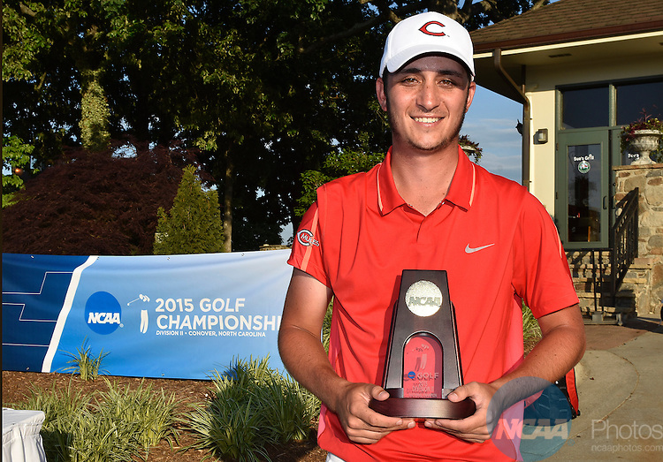 20 MAY 2015:  Sam Migdal of Central Missouri celebrates with the trophy after winning the Division II Men's Individual Golf Championship held at the Rock Barn Golf & Spa in Conover, NC. Migdal shot a -8 to win the individual national title. Grant Halverson/NCAA Photos