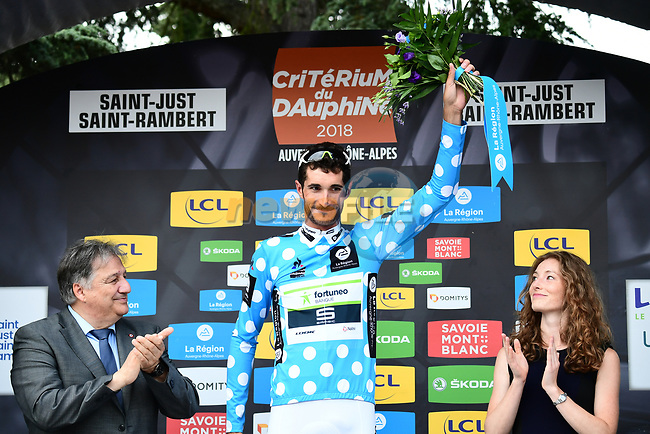 Brice Feuillu (FRA) Team Fortuneo-Samsic wears the Polka Dot Jersey on the podium at the end of Stage 1 of the 2018 Criterium du Dauphine 2018 running 179km from Valence to Saint-Just-Saint-Rambert, France. 4th June 2018.<br /> Picture: ASO/Alex Broadway | Cyclefile<br /> <br /> <br /> All photos usage must carry mandatory copyright credit (© Cyclefile | ASO/Alex Broadway)