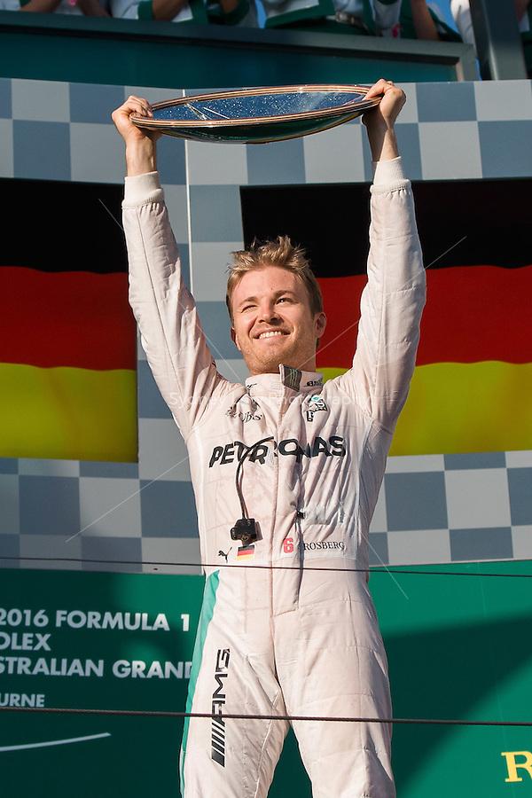 March 20, 2016: Nico Rosberg (DEU) #6 from the Mercedes AMG Petronas team celebrates winning the 2016 Australian Formula One Grand Prix at Albert Park, Melbourne, Australia. Photo Sydney Low