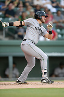 First baseman Logan Wyatt (16) of the Augusta GreenJackets bats in a game against the Greenville Drive on Thursday, August 29, 2019, at Fluor Field at the West End in Greenville, South Carolina. Augusta won, 11-0. (Tom Priddy/Four Seam Images)