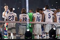 Real Madrid Cristiano Ronaldo talking during the celebration of the 12th UEFA Championship won by Real Madrid  at Santiago Bernabeu Stadium in Madrid, June 04, 2017. Spain.<br /> Foto ALTERPHOTOS/BorjaB.Hojas/Insidefoto