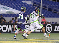 Annapolis, MD - July 7, 2018: New York Lizards Thomas Kelly (26) kicks the ball during the game between New York Lizards and Chesapeake Bayhawks at Navy-Marine Corps Memorial Stadium in Annapolis, MD.   (Photo by Elliott Brown/Media Images International)