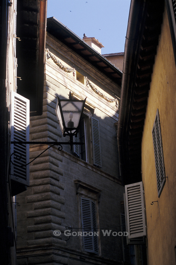 Street Lamp, Shutters and Stucco - Side Street, Siena, Tuscany, Italy