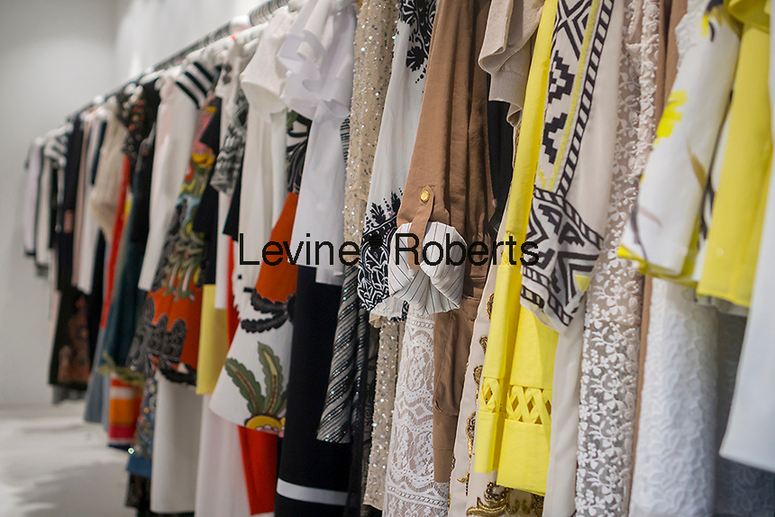 Designer clothing on sale in a store on Madison Avenue in New York on Thursday, April 21, 2016.  (© Richard B. Levine)