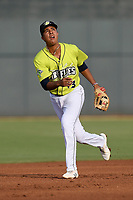 Third baseman Mark Vientos (13) of the Columbia Fireflies plays defense in a game against the Augusta GreenJackets on Thursday, July 11, 2019 at Segra Park in Columbia, South Carolina. Columbia won, 5-2. (Tom Priddy/Four Seam Images)