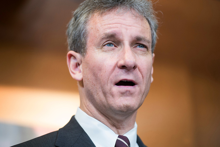"""UNITED STATES - APRIL 5: Rep. Matt Cartwright, D-Pa., conducts a news conference in the Capitol Visitor Center to introduce miner's health care legislation the """"Black Lung Benefits Improvement Act of 2017"""" and the """"Robert C. Byrd Mine Safety Protection Act of 2017,"""" April 5, 2017. Sens. Bob Casey, D-Pa., Joe Manchin, D-W.Va., and Rep. Bobby Scott, D-Va., also attended. (Photo By Tom Williams/CQ Roll Call)"""