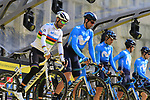 Movistar Team on stage at the team presentation in Antwerp before the start of the 2019 Ronde Van Vlaanderen 270km from Antwerp to Oudenaarde, Belgium. 7th April 2019.<br /> Picture: Eoin Clarke | Cyclefile<br /> <br /> All photos usage must carry mandatory copyright credit (&copy; Cyclefile | Eoin Clarke)