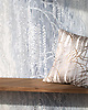 Weeping Willow, a waterjet and hand-cut Jewel glass mosaic, shown in Pearl, Moonstone, and Opal, designed by Kevin O'Brien for the Broad Street™ collection by New Ravenna.<br /> <br /> Pillow courtesy of Kevin O'Brien Studio.