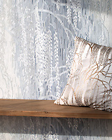 Weeping Willow, a waterjet and hand-cut Jewel glass mosaic, shown in Pearl, Moonstone, and Opal, designed by Kevin O'Brien for the Broad Street&trade; collection by New Ravenna.<br />