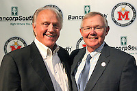 Jackie Sherrill, left, the winningest coach in Mississippi State football history, has been named a 2016 inductee into the Mississippi Sports Hall of Fame. Congratulated here by MSHOF Executive Director Rick Cleveland, Sherrill is best known for reviving the Bulldogs football program and taking the team to six bowl games, four Top 20 rankings in AP polls, and winning the SEC West title in 1998. He remains the only Mississippi coach to take a team to the SEC Championship Game. He will be inducted into the MSHOF in July 2016. For more on the MSHOF's Class of 2016, visit http://msfame.com/news-updates/announcing-another-star-studded-mshof-class-2016/. (photo by Elwin Williams / for Mississippi State University)