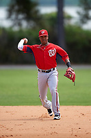 Washington Nationals Osvaldo Abreu (10) during practice before a minor league Spring Training game against the Detroit Tigers on March 21, 2016 at Tigertown in Lakeland, Florida.  (Mike Janes/Four Seam Images)
