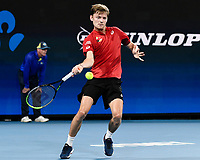 10th January 2020; Sydney Olympic Park Tennis Centre, Sydney, New South Wales, Australia; ATP Cup Australia, Sydney, Day 8; Belgium versus Spain;David Goffin of Belgium versus Rafael Nadal of Spain; David Goffin of Belgium hits a forehand to Rafael Nadal of Spain - Editorial Use