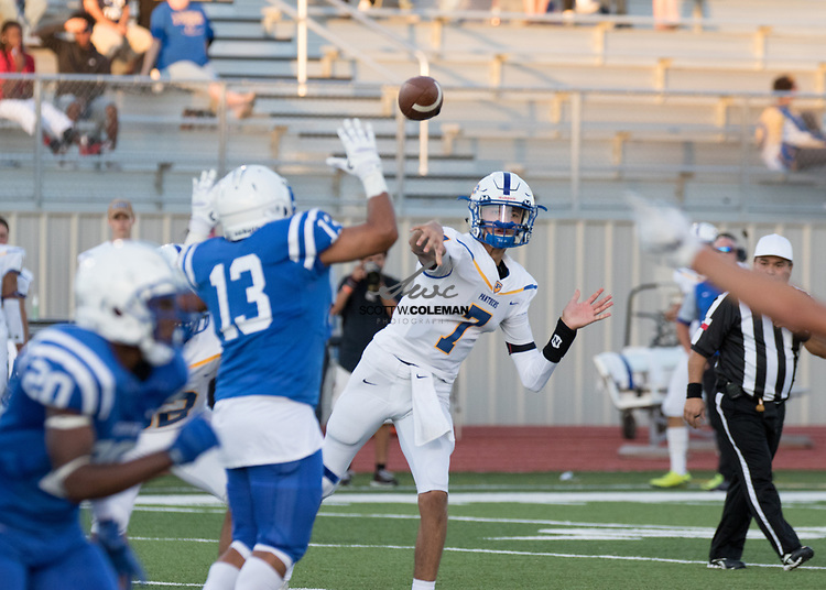 Pflugerville Panthers quarterback Damon Tamez (7) passes the ball during a high school football game between Leander and Pflugerville at Bible Stadium in Leander, Texas on Thursday, September 7, 2017.