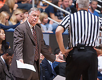 California's head coach Mike Montgomery complains to the referee during a game at Haas Pavilion in Berkeley, California on March 8th, 2014. California defeated Colorado 66 - 65