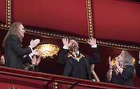 2016 Kennedy Center Honoree actor Al Pacino waves at the beginning of the Kennedy Center Honors, at the Kennedy Center, December 4, 2016, Washington, DC.  Honorees include actor Al Pacino, singer James Taylor, members of the band Eagles, pianist Martha Argerich and singer Mavis Staples. The 2016 honorees are: Argentine pianist Martha Argerich; rock band the Eagles; screen and stage actor Al Pacino; gospel and blues singer Mavis Staples; and musician James Taylor. Photo Credit: Aude Guerrucci/CNP/AdMedia