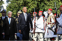 Pictured: US President Barack Obama escorted by President of the Hellenic Republic Prokopis Pavlopoulos, walk next to Greek Presidential Guards known as Tsoliades, as they both arrive at the Presidential Mansion in Athens, Greece. Tuesday 15 November 2016<br /> Re: US President Barack Obama state visit to Greece