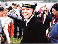BNPS.co.uk (01202 558833)<br /> Pic: JulieHarding/BNPS<br /> <br /> Julie in the early 90's.<br /> <br /> A navy wren who made history when she was transferred to Royal Yacht Britannia for emergency treatment in its sick bay has told how she was pampered by the Queen.<br /> <br /> Her Majesty and Prince Philip visited Julie Harding on her sick bed, arranged for the Royal band to play to her and showered her with gifts and food after she unexpectedly interrupted their summer cruise in 1992.<br /> <br /> The 18-year-old wren was serving on HMS Brilliant which was escorting Britannia around the Western Isles of Scotland when she suffered a gruesome injury to her fingers in an accident on board.<br /> <br /> Due to a lack of medical resources on the Royal Navy frigate, Mrs Harding was transferred to the Royal yacht so she could be operated on by the Queen's doctors.<br /> <br /> Mrs Harding has returned to Britannia, now a floating museum at Leith, to be reunited with the medics who treated her to mark the 25th anniversary of the event.