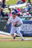 South Bend Cubs first baseman Levi Jordan (5) on defense against the Lake County Captains on May 30, 2019 at Four Winds Field in South Bend, Indiana. The Captains defeated the Cubs 5-1.  (Andrew Woolley/Four Seam Images)