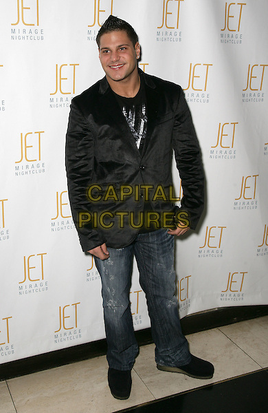 RONNIE MAGRO.Jersey Shore Lovebirds Ronnie and Sammi host at Jet Nightclub at the Mirage Resort Hotel and Casino, Las Vegas, Nevada, USA..March 6th, 2010.full length black jacket jeans denim.CAP/ADM/MJT.© MJT/AdMedia/Capital Pictures.