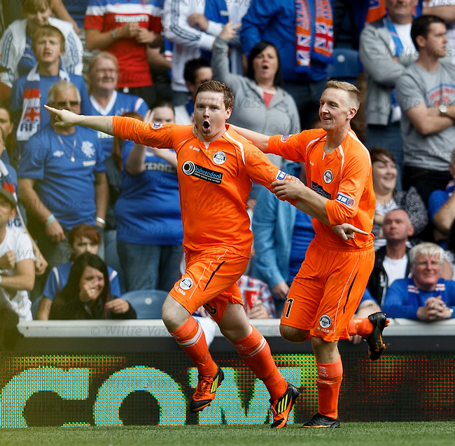 Paul Quinn celebrates his penalty goal for East Stirling with Scott Maxwell