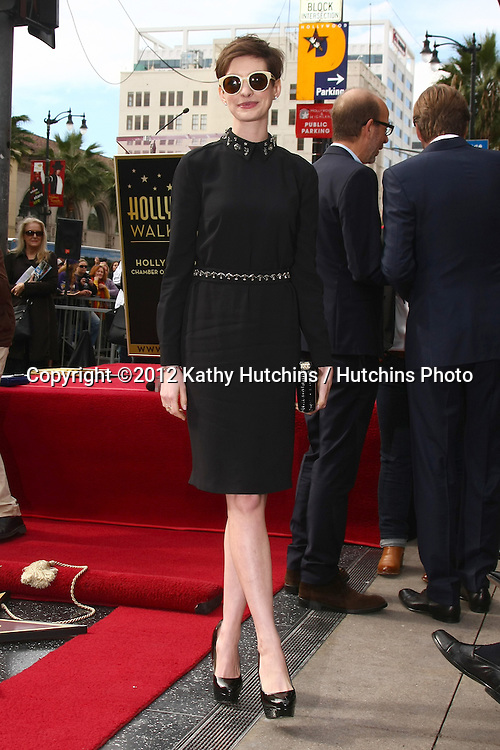 LOS ANGELES - DEC 13:  Anne Hathaway at the Hollywood Walk of Fame ceremony for Hugh Jackman at Hollywood Boulevard on December 13, 2012 in Los Angeles, CA