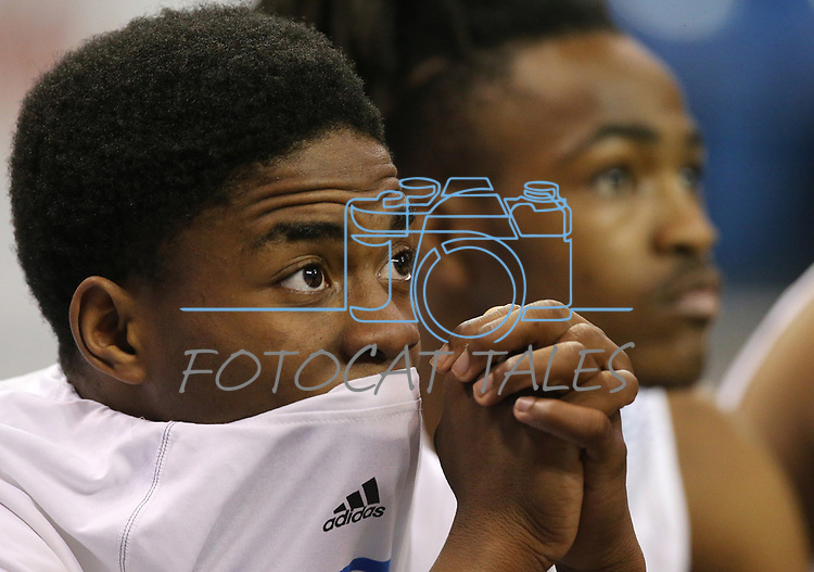 Desert Pines's Laronte Dorsey watches the action in the NIAA 3A state basketball championship game against Cheyenne in Reno, Nev., on Saturday, Feb. 24, 2018. Desert Pines won 48-44 in overtime. Cathleen Allison/Las Vegas Review-Journal