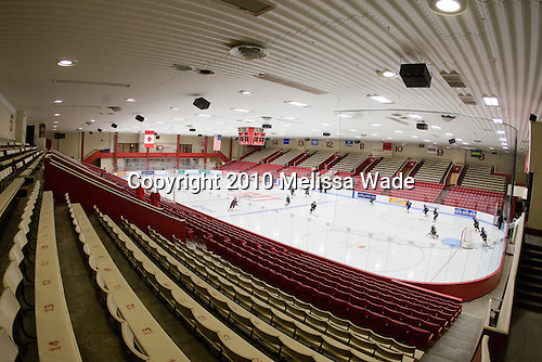 Walter Brown Arena was renovated during the off-season.  The most dramatic difference to fans is in the lighting, but the ice and boards were also improved along with new seats and an extended net at the press box end. - The Boston University Terriers defeated the visiting University of Windsor Lancers 4-1 in a Saturday afternoon, September 25, 2010, exhibition game at Walter Brown Arena in Boston, MA.