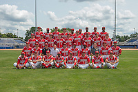 Batavia Muckdogs official team photo taken July 18, 2014 at Dwyer Stadium in Batavia, New York.  Front Row:  Carlos Duran, Connor Overton, Chris Sadberry, Mason Davis, Rodrigo Vigil, Hiram Martinez, Luis Alberto Sanz, Christopher Hoo.  Second Row:  Christian MacDonald, Ben Holmes, Clubhouse Manager John Versage, Strength & Conditioning Coach Adam Brown, Pitching Coach Brendan Sagara, manager Angel Espada, Rigoberto Silverio, Trainer Mike Bibbo, James Buckelew, Gabriel Castellanos.  Third Row:  Jacob Smigelski, Ryan Cranmer, Aaron Blanton, Ryan Aper, Hayden Fox, Josh Hodges, Kevin Grove, Jorgan Cavanerio, Steven Farnworth.  Fourth Row:  Scott Squier, Juancito Martinez, Eric Fisher, Michael Mader, Alex Carreras, Wildert Pujols, Javier Lopez, Victor Castro, Miles Williams  (Mike Janes/Four Seam Images)