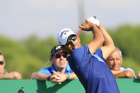 Pablo Larrazabal (ESP) tees off the 10th tee during Thursday's Round 1 of the 2016 Portugal Masters held at the Oceanico Victoria Golf Course, Vilamoura, Algarve, Portugal. 19th October 2016.<br /> Picture: Eoin Clarke | Golffile<br /> <br /> <br /> All photos usage must carry mandatory copyright credit (&copy; Golffile | Eoin Clarke)