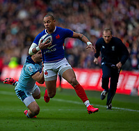 8th March 2020; Murrayfield Stadium, Edinburgh, Scotland; International Six Nations Rugby, Scotland versus France; Gael Fickou of France is tackled by Sean Maitland of Scotland