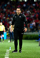 MEDELLÍN-COLOMBIA, 06-11-2019: Aldo Bobadilla, técnico de Deportivo Independiente Medellín, durante partido de vuelta entre Deportivo Independiente Medellín y Deportivo Cali, por la final de la Copa Águila 2019, en el estadio Atanasio Girardot de la ciudad de Medellín. / Aldo Bobadilla, coach of Deportivo Independiente Medellin, during a match of the second leg between Deportivo Independiente Medellin and Deportivo Cali, for the final of the Aguila Cup 2019 at the Atanasio Girardot stadium in Medellin city. / Photo: VizzorImage  / Nelson Ríos / Cont.