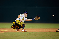 Savannah Bananas second baseman Kyler Marquis (3) waits for at throw during a Coastal Plain League game against the Macon Bacon on July 15, 2020 at Grayson Stadium in Savannah, Georgia.  Savannah wore kilts for their St. Patrick's Day in July promotion.  (Mike Janes/Four Seam Images)