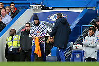 Chelsea's Alvaro Morata gets ready to warm up along the touchline ahead of coming on as a second half substitute during Chelsea vs Fulham, Premier League Football at Stamford Bridge on 2nd December 2018