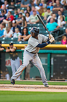 James Jones (21) of the Tacoma Rainiers at bat against the Salt Lake Bees in Pacific Coast League action at Smith's Ballpark on August 31, 2015 in Salt Lake City, Utah. Salt Lake defeated Tacoma 6-5. (Stephen Smith/Four Seam Images)